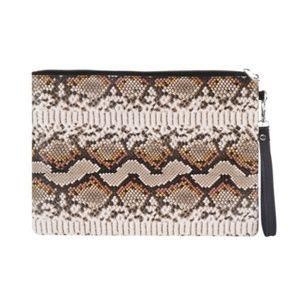Tigerstars Brown Snake Skin Print Wristlet Pouch